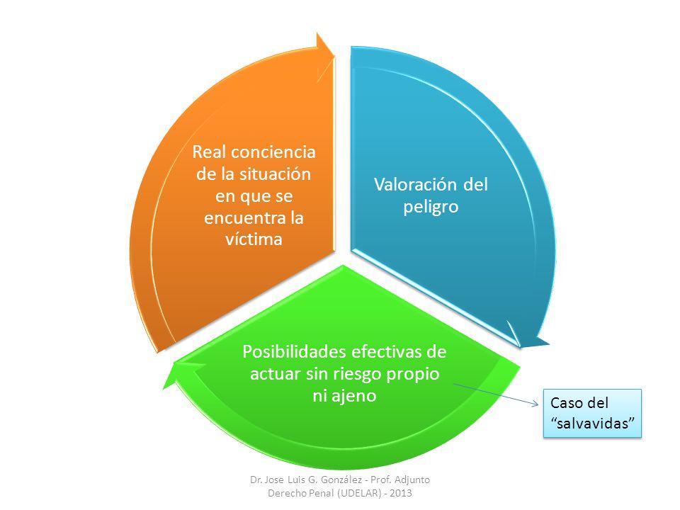 Valoración del peligro Posibilidades efectivas de actuar sin riesgo propio ni ajeno Real conciencia de la situación en que se encuentra la víctima Dr.