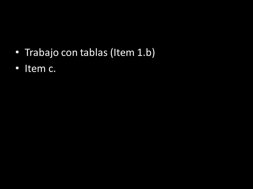 TRABAJO DE ELLOS Trabajo con tablas (Item 1.b) Item c.