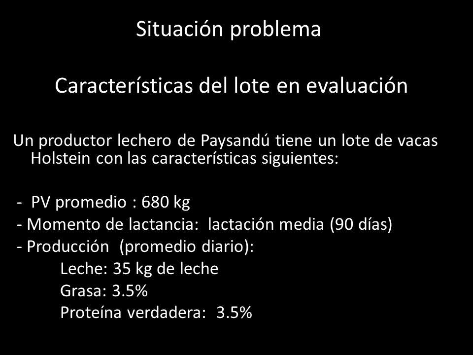 Situación problema Características del lote en evaluación Un productor lechero de Paysandú tiene un lote de vacas Holstein con las características sig