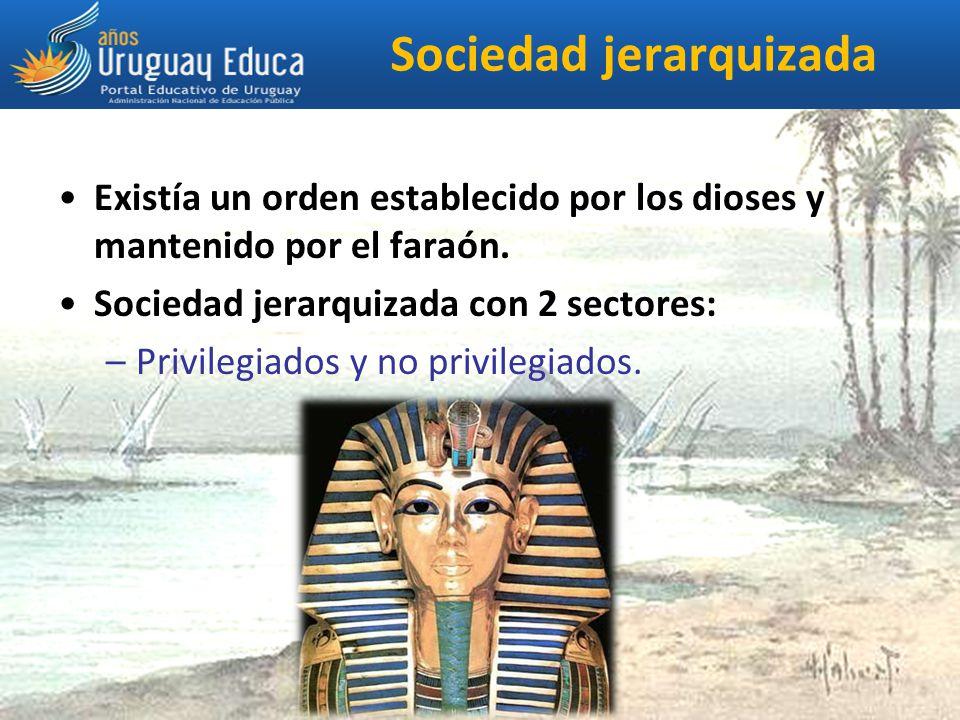 Sociedad jerarquizada Existía un orden establecido por los dioses y mantenido por el faraón.