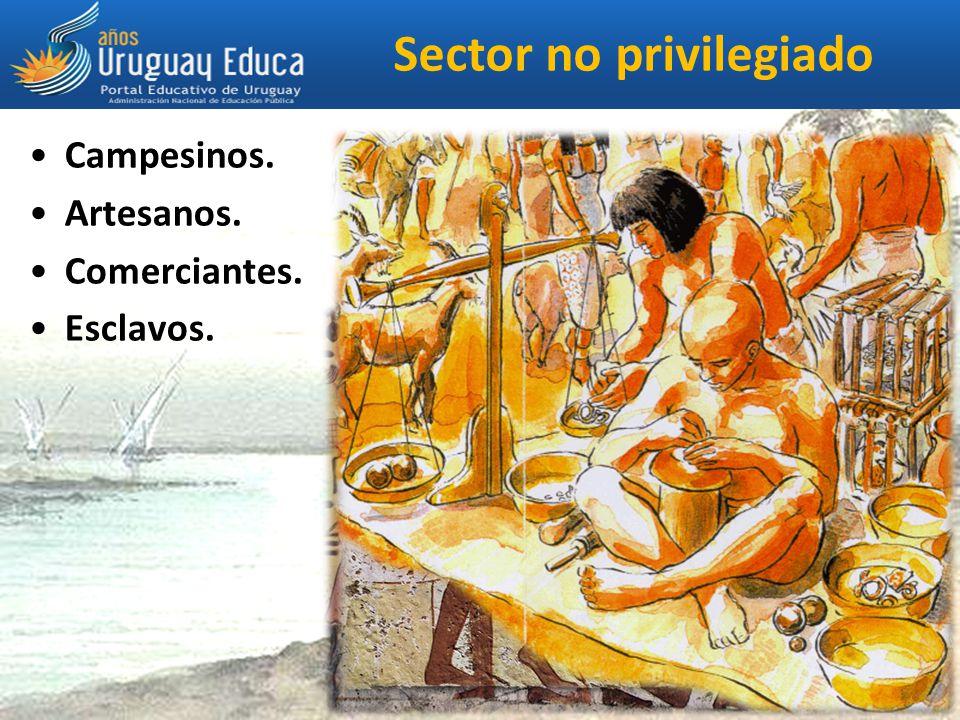 Sector no privilegiado Campesinos. Artesanos. Comerciantes. Esclavos.