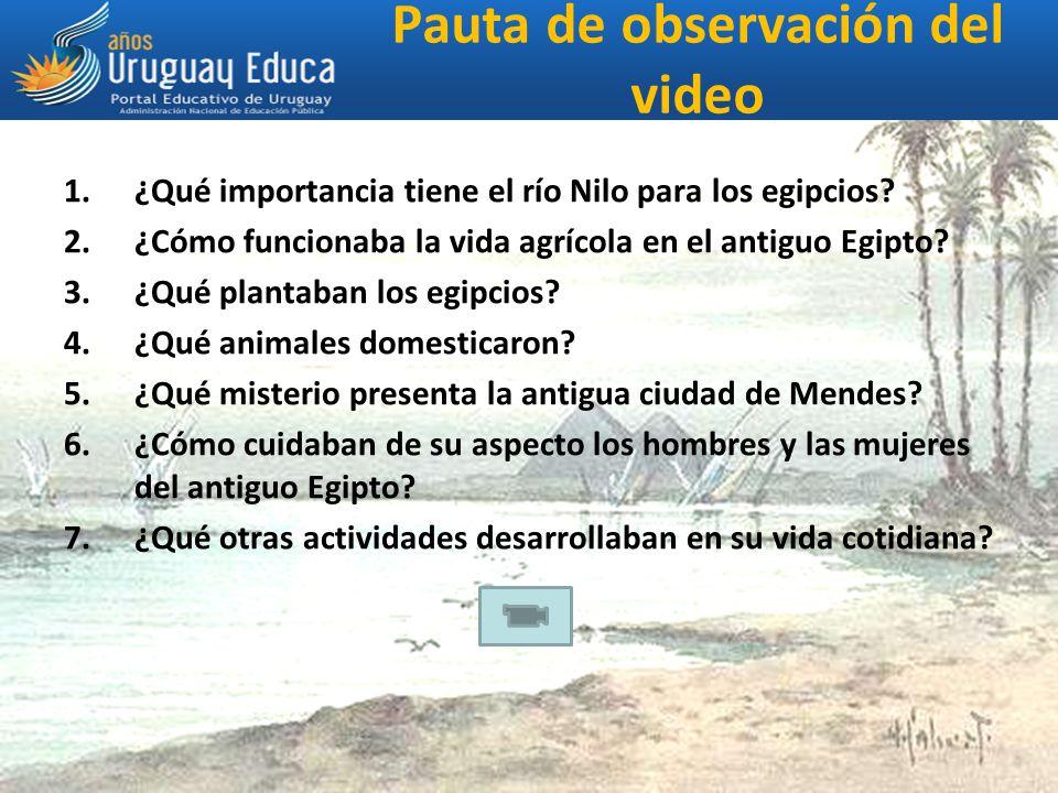 Pauta de observación del video 1.¿Qué importancia tiene el río Nilo para los egipcios.