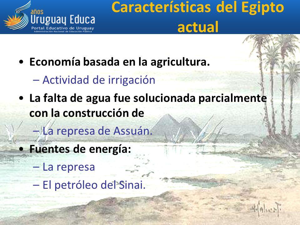 Características del Egipto actual Economía basada en la agricultura.