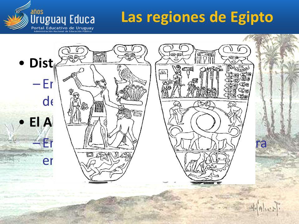 Las regiones de Egipto Distinguimos entre el Bajo Egipto: –En el norte, comprende la desembocadura en delta del río.