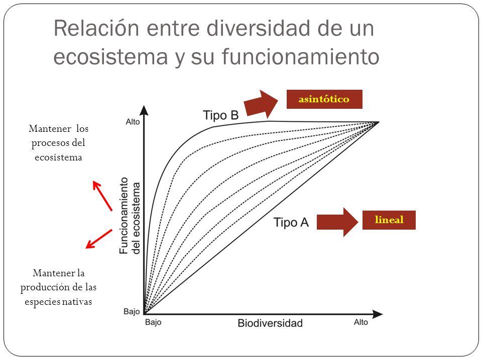 Relación entre diversidad de un ecosistema y su funcionamiento lineal asintótico Mantener los procesos del ecosistema Mantener la producción de las es