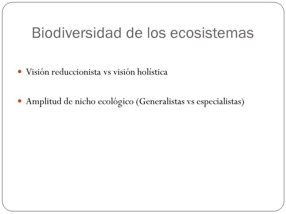 Biodiversidad de los ecosistemas Visión reduccionista vs visión holística Amplitud de nicho ecológico (Generalistas vs especialistas)