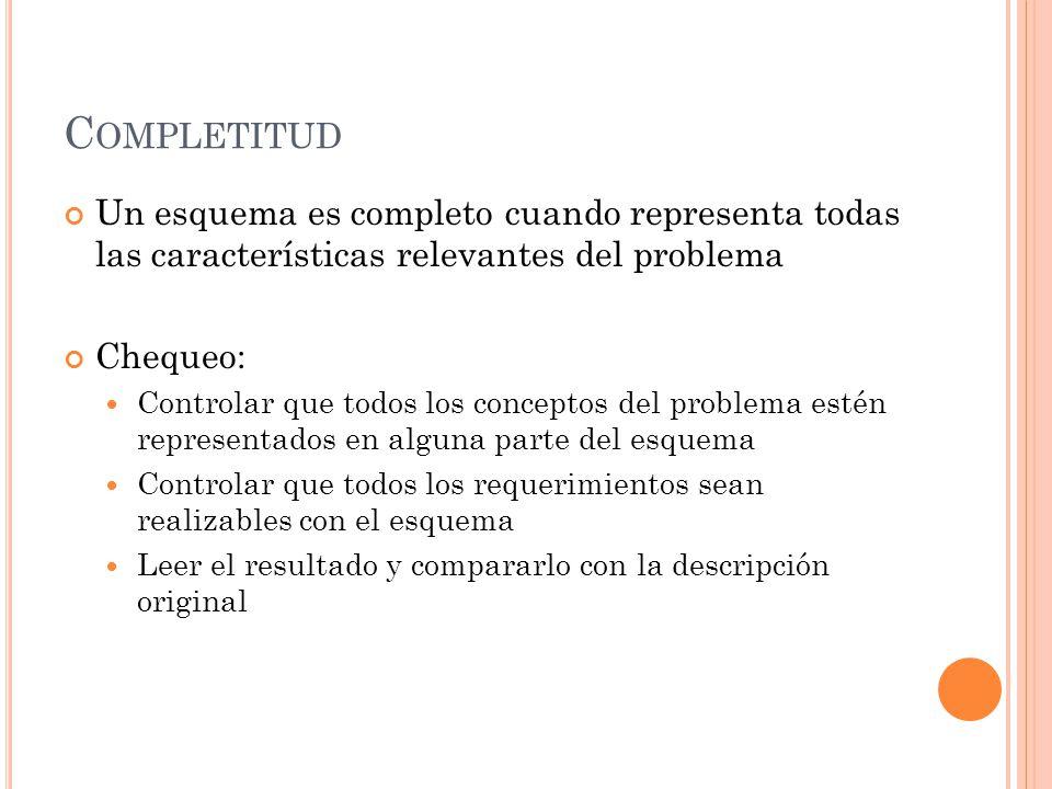 C OMPLETITUD Un esquema es completo cuando representa todas las características relevantes del problema Chequeo: Controlar que todos los conceptos del
