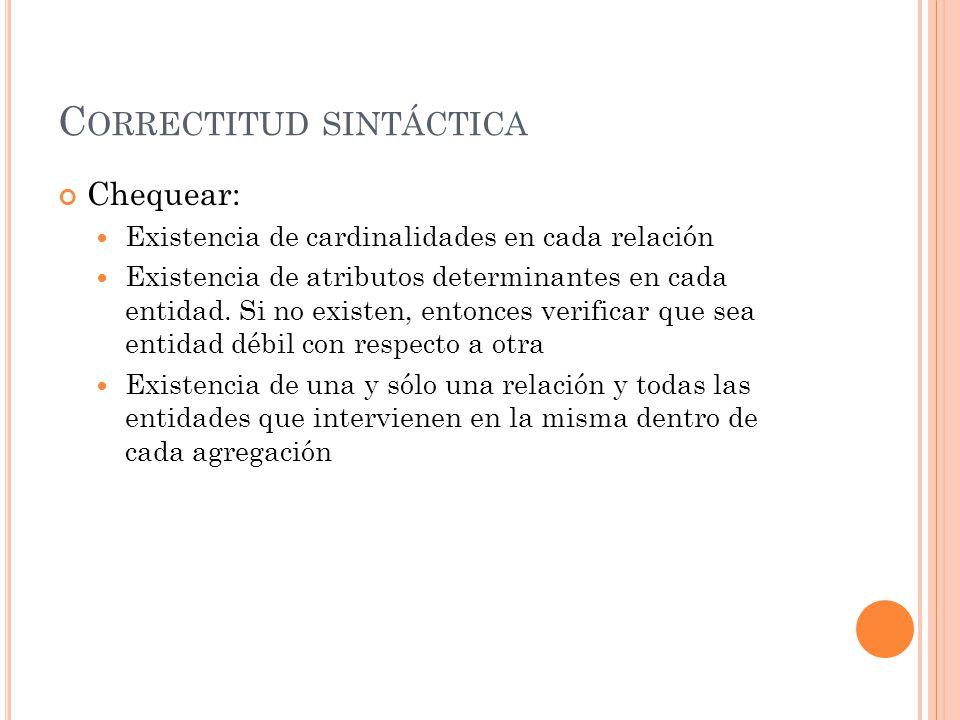 C ORRECTITUD SINTÁCTICA Chequear: Existencia de cardinalidades en cada relación Existencia de atributos determinantes en cada entidad.