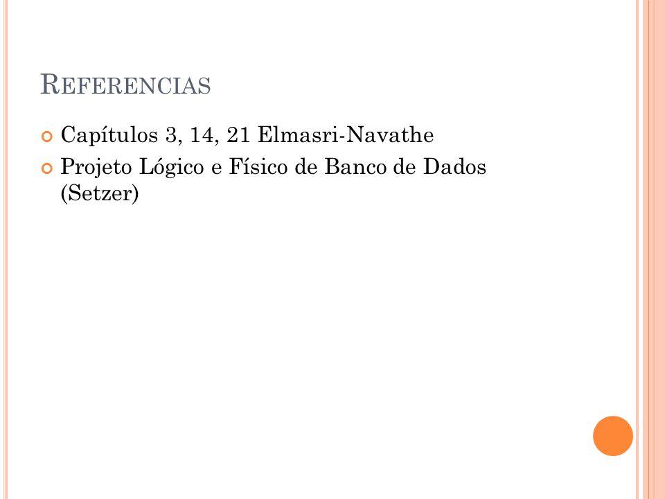 R EFERENCIAS Capítulos 3, 14, 21 Elmasri-Navathe Projeto Lógico e Físico de Banco de Dados (Setzer)