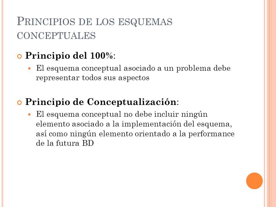 P RINCIPIOS DE LOS ESQUEMAS CONCEPTUALES Principio del 100% : El esquema conceptual asociado a un problema debe representar todos sus aspectos Princip