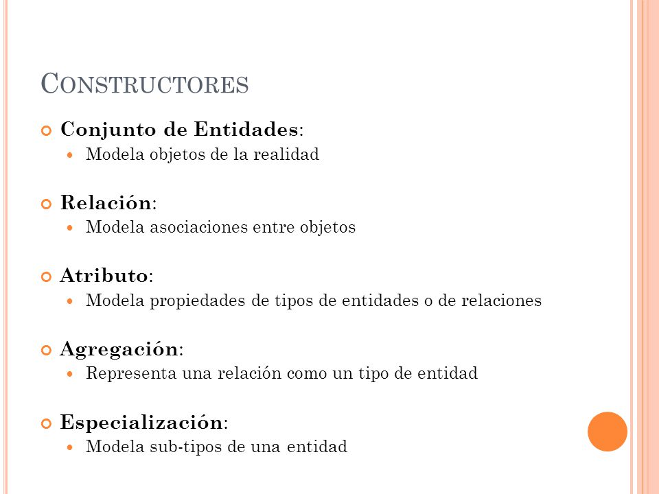 C ONSTRUCTORES Conjunto de Entidades : Modela objetos de la realidad Relación : Modela asociaciones entre objetos Atributo : Modela propiedades de tipos de entidades o de relaciones Agregación : Representa una relación como un tipo de entidad Especialización : Modela sub-tipos de una entidad