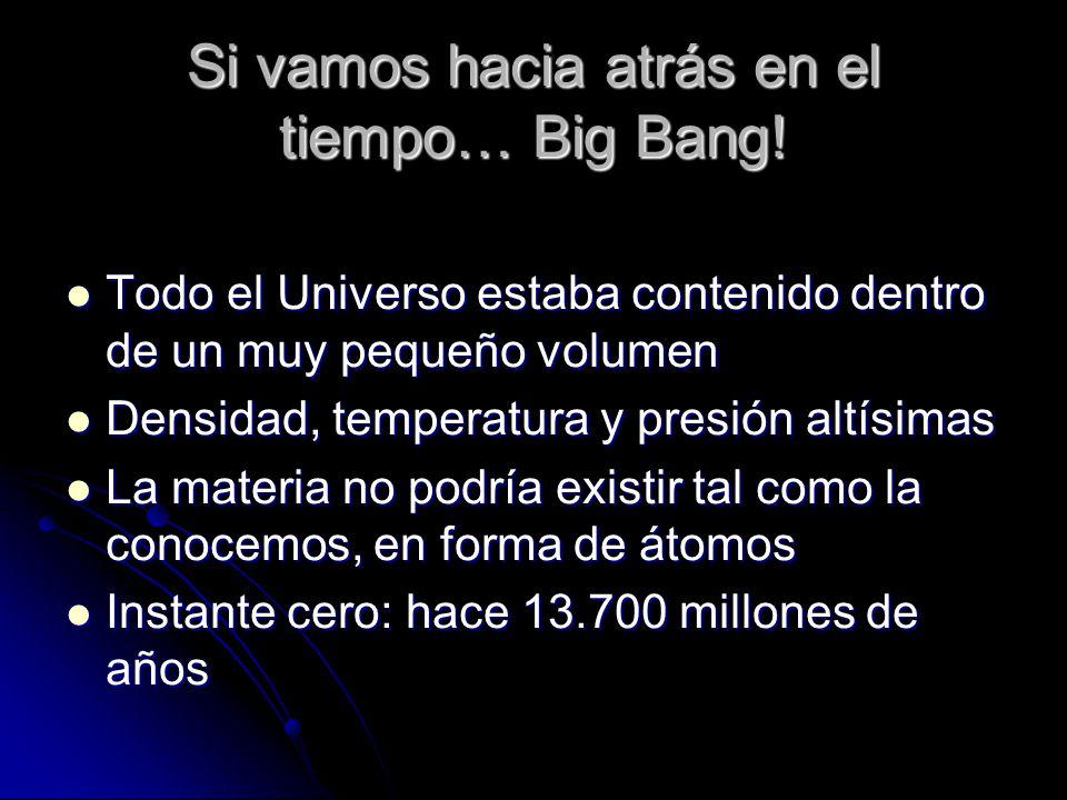 Si vamos hacia atrás en el tiempo… Big Bang! Todo el Universo estaba contenido dentro de un muy pequeño volumen Todo el Universo estaba contenido dent
