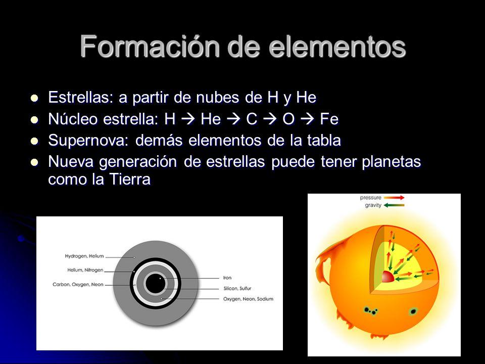 Formación de elementos Estrellas: a partir de nubes de H y He Estrellas: a partir de nubes de H y He Núcleo estrella: H He C O Fe Núcleo estrella: H H