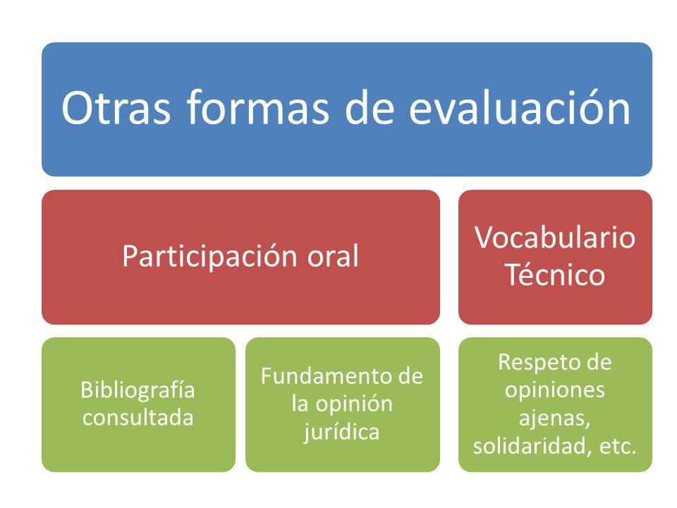 Otras formas de evaluación Participación oral Bibliografía consultada Fundamento de la opinión jurídica Vocabulario Técnico Respeto de opiniones ajena
