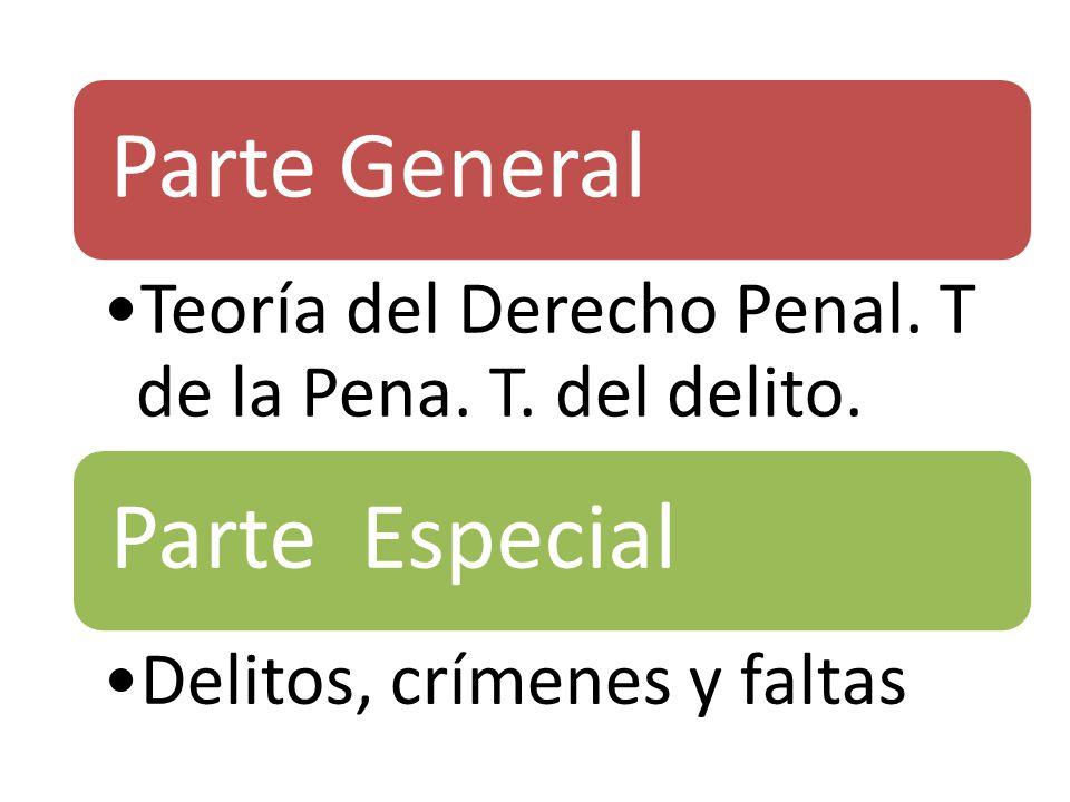 Parte General Teoría del Derecho Penal. T de la Pena. T. del delito. Parte Especial Delitos, crímenes y faltas