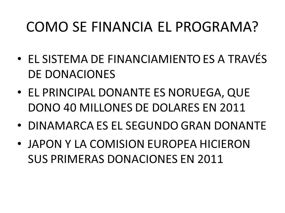 COMO SE FINANCIA EL PROGRAMA? EL SISTEMA DE FINANCIAMIENTO ES A TRAVÉS DE DONACIONES EL PRINCIPAL DONANTE ES NORUEGA, QUE DONO 40 MILLONES DE DOLARES