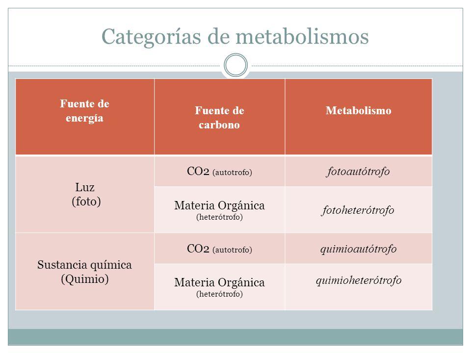 Categorías de metabolismos Fuente de energía Fuente de carbono Metabolismo Luz (foto) CO2 (autotrofo) fotoautótrofo Materia Orgánica (heterótrofo) fotoheterótrofo Sustancia química (Quimio) CO2 (autotrofo) quimioautótrofo Materia Orgánica (heterótrofo) quimioheterótrofo