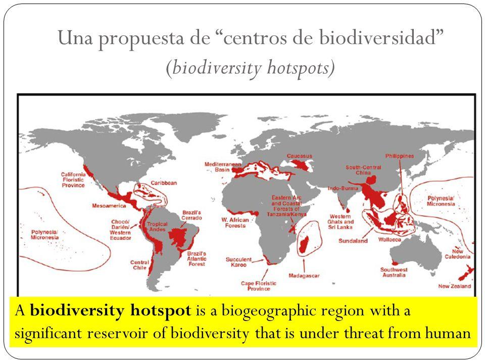 Una propuesta de centros de biodiversidad (biodiversity hotspots) A biodiversity hotspot is a biogeographic region with a significant reservoir of bio