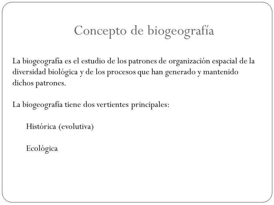 Concepto de biogeografía La biogeografía es el estudio de los patrones de organización espacial de la diversidad biológica y de los procesos que han g