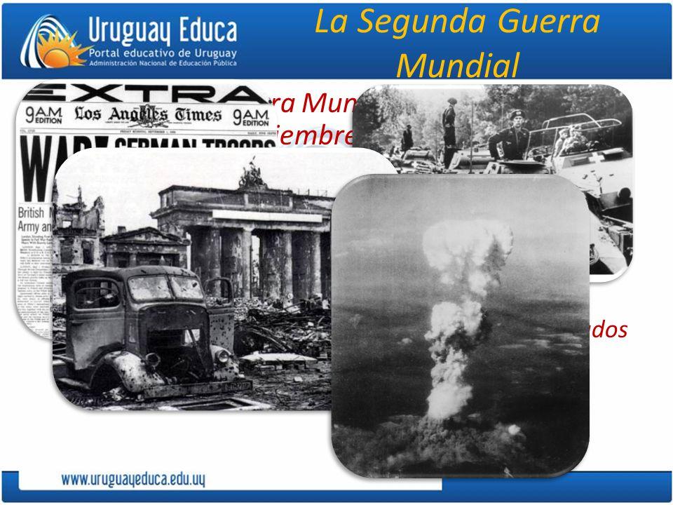 La Segunda Guerra Mundial La Segunda Guerra Mundial (SGM) se extiende entre el 1 de septiembre de 1939, cuando Alemania ataca a Polonia, y el 10 de agosto de 1945, en que, tras la explosión de dos bombas atómicas sobre Hiroshima y Nagasaki, Japón se rinde a los Estados Unidos (EE.UU.).
