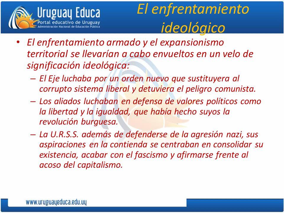 El enfrentamiento ideológico El enfrentamiento armado y el expansionismo territorial se llevarían a cabo envueltos en un velo de significación ideológ