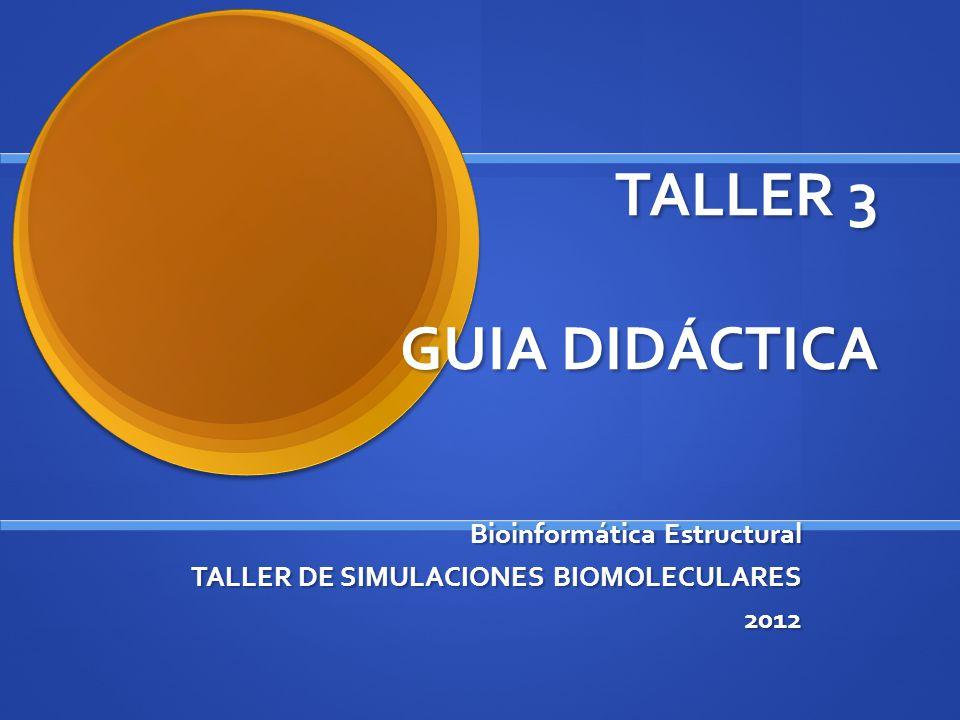 TALLER 3 GUIA DIDÁCTICA Bioinformática Estructural TALLER DE SIMULACIONES BIOMOLECULARES 2012