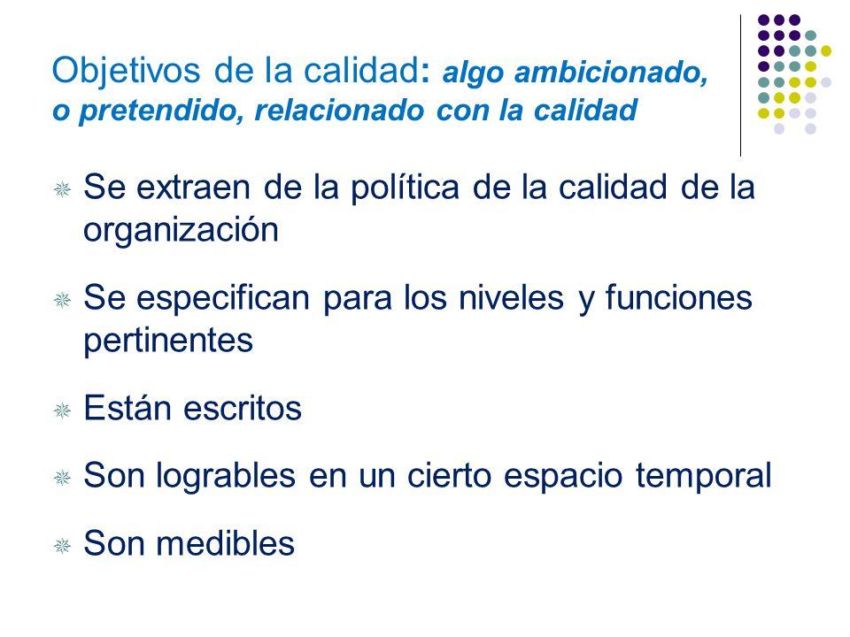 Política de la calidad Intenciones globales y orientación de una organización relativas a la calidad tal como se expresan formalmente por la alta dire