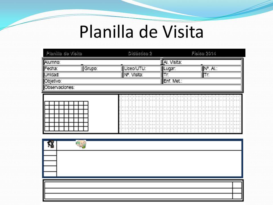 Planilla de Visita Planilla de VisitaDidáctica 2 Física 2014