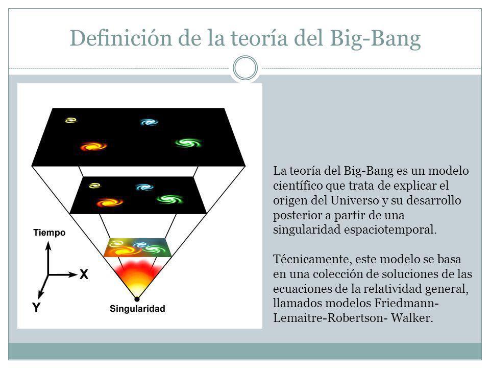 Definición de la teoría del Big-Bang La teoría del Big-Bang es un modelo científico que trata de explicar el origen del Universo y su desarrollo poste