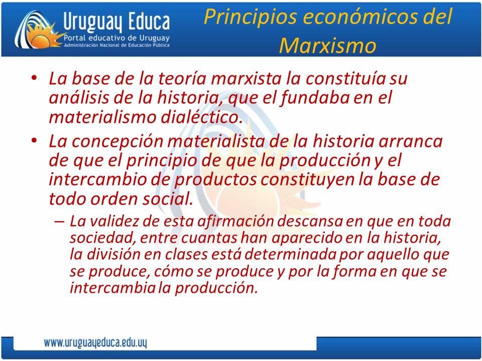 Principios económicos del Marxismo La base de la teoría marxista la constituía su análisis de la historia, que el fundaba en el materialismo dialéctico.