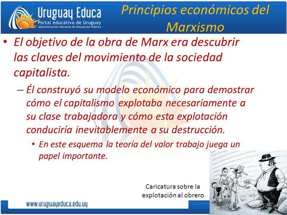 Principios económicos del Marxismo El objetivo de la obra de Marx era descubrir las claves del movimiento de la sociedad capitalista.