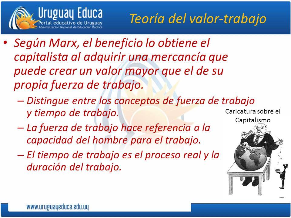 Teoría del valor-trabajo Según Marx, el beneficio lo obtiene el capitalista al adquirir una mercancía que puede crear un valor mayor que el de su propia fuerza de trabajo.