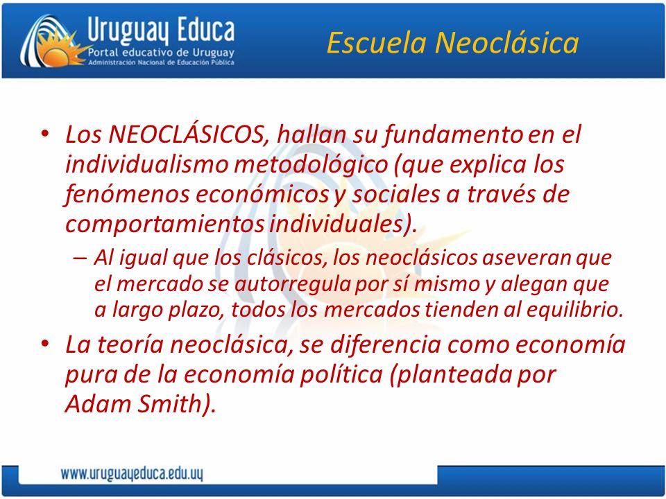 Escuela Neoclásica Los NEOCLÁSICOS, hallan su fundamento en el individualismo metodológico (que explica los fenómenos económicos y sociales a través de comportamientos individuales).
