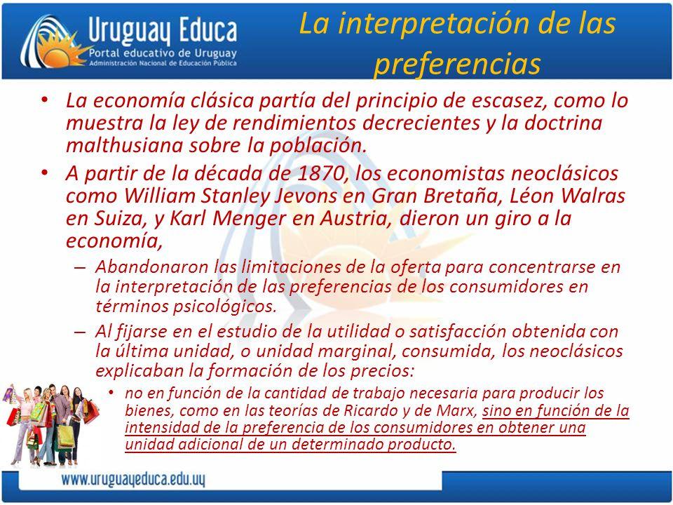La interpretación de las preferencias La economía clásica partía del principio de escasez, como lo muestra la ley de rendimientos decrecientes y la doctrina malthusiana sobre la población.