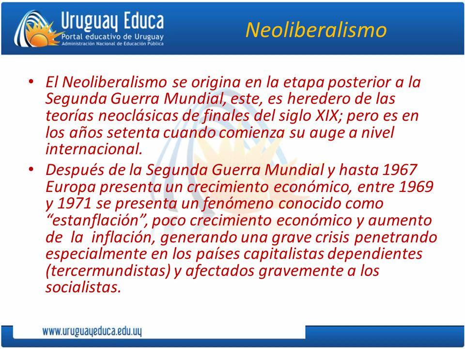 Neoliberalismo El Neoliberalismo se origina en la etapa posterior a la Segunda Guerra Mundial, este, es heredero de las teorías neoclásicas de finales del siglo XIX; pero es en los años setenta cuando comienza su auge a nivel internacional.