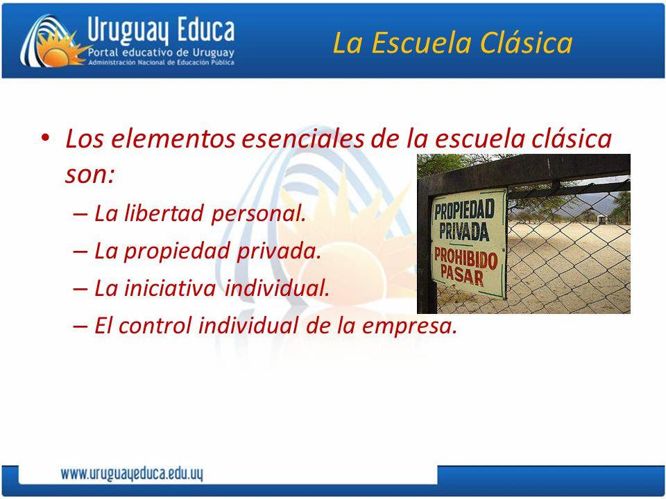 La Escuela Clásica Los elementos esenciales de la escuela clásica son: – La libertad personal.