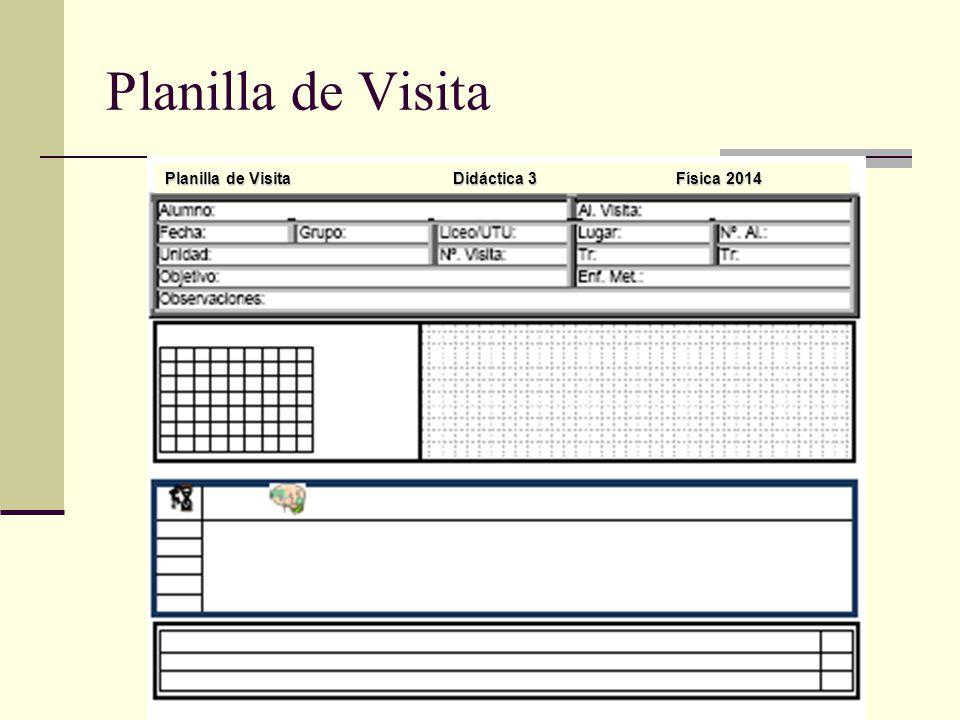 Planilla de Visita Planilla de VisitaDidáctica 3 Física 2014
