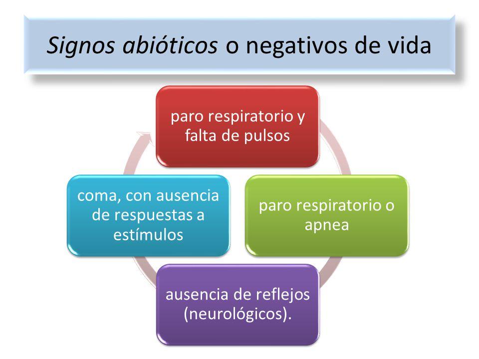 paro respiratorio y falta de pulsos paro respiratorio o apnea ausencia de reflejos (neurológicos). coma, con ausencia de respuestas a estímulos Signos