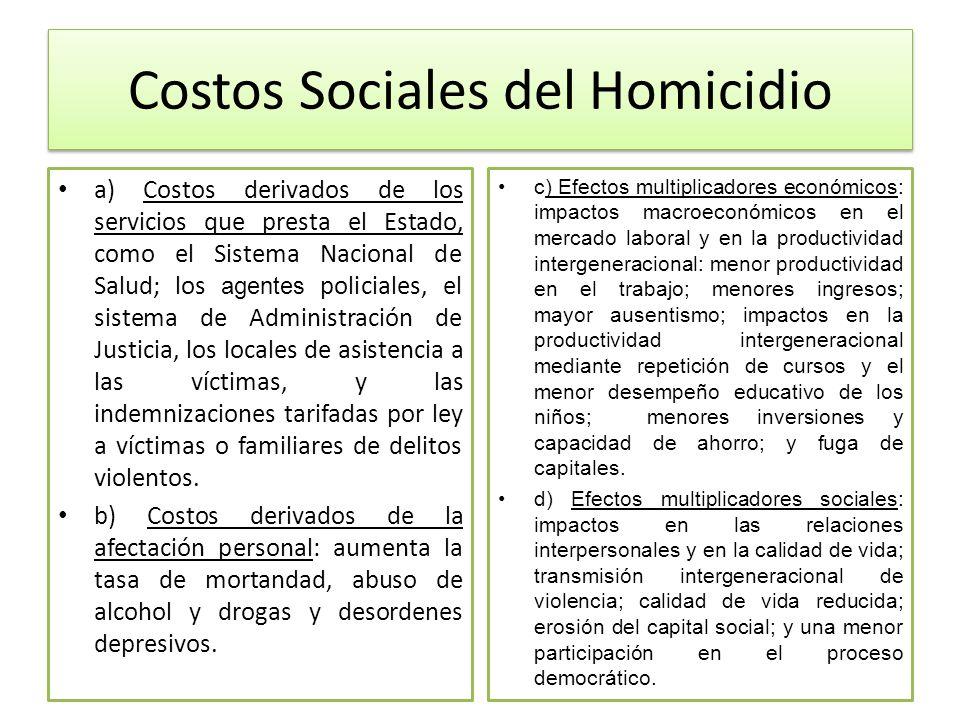 Costos Sociales del Homicidio a) Costos derivados de los servicios que presta el Estado, como el Sistema Nacional de Salud; los agentes policiales, el