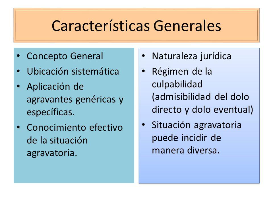 Características Generales Concepto General Ubicación sistemática Aplicación de agravantes genéricas y específicas. Conocimiento efectivo de la situaci
