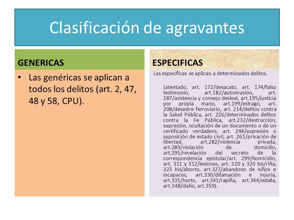 Clasificación de agravantes GENERICAS Las genéricas se aplican a todos los delitos (art. 2, 47, 48 y 58, CPU). ESPECIFICAS Las específicas se aplican