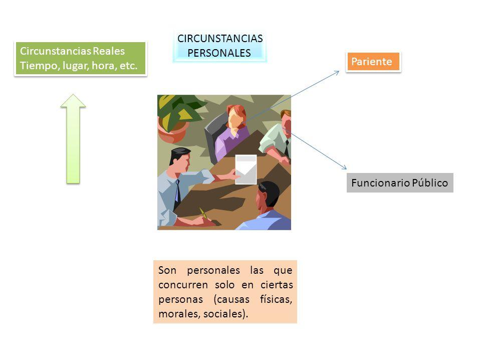 CIRCUNSTANCIAS PERSONALES Son personales las que concurren solo en ciertas personas (causas físicas, morales, sociales). Pariente Funcionario Público