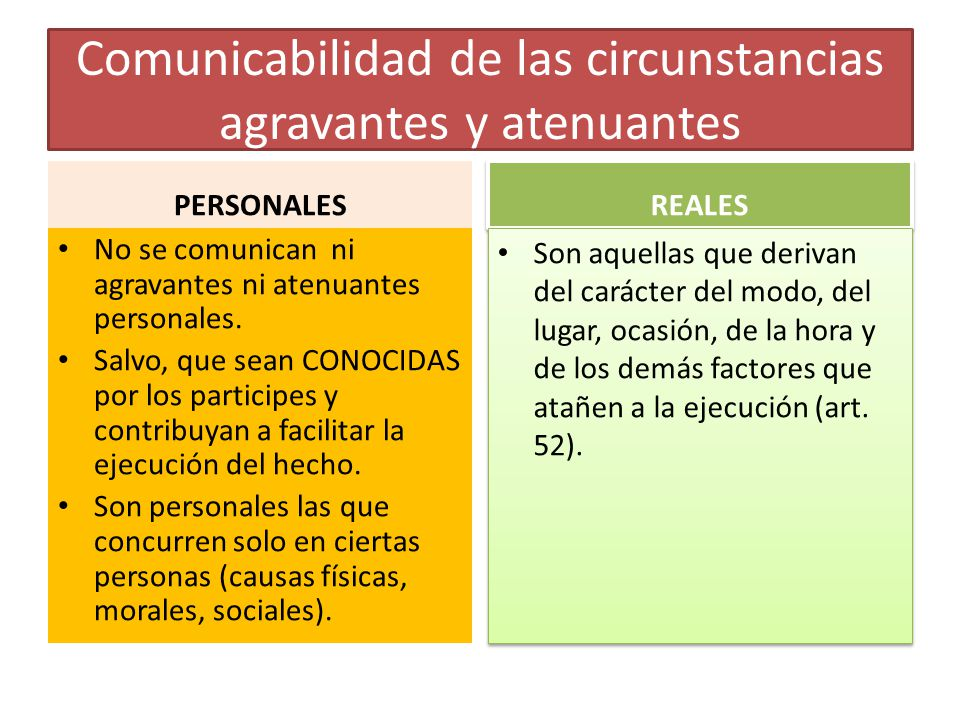 Comunicabilidad de las circunstancias agravantes y atenuantes PERSONALES No se comunican ni agravantes ni atenuantes personales. Salvo, que sean CONOC