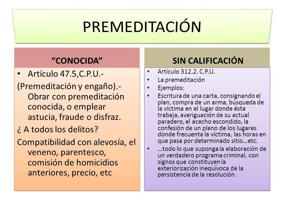 CONOCIDA Artículo 47.5,C.P.U.- (Premeditación y engaño).- Obrar con premeditación conocida, o emplear astucia, fraude o disfraz. ¿ A todos los delitos