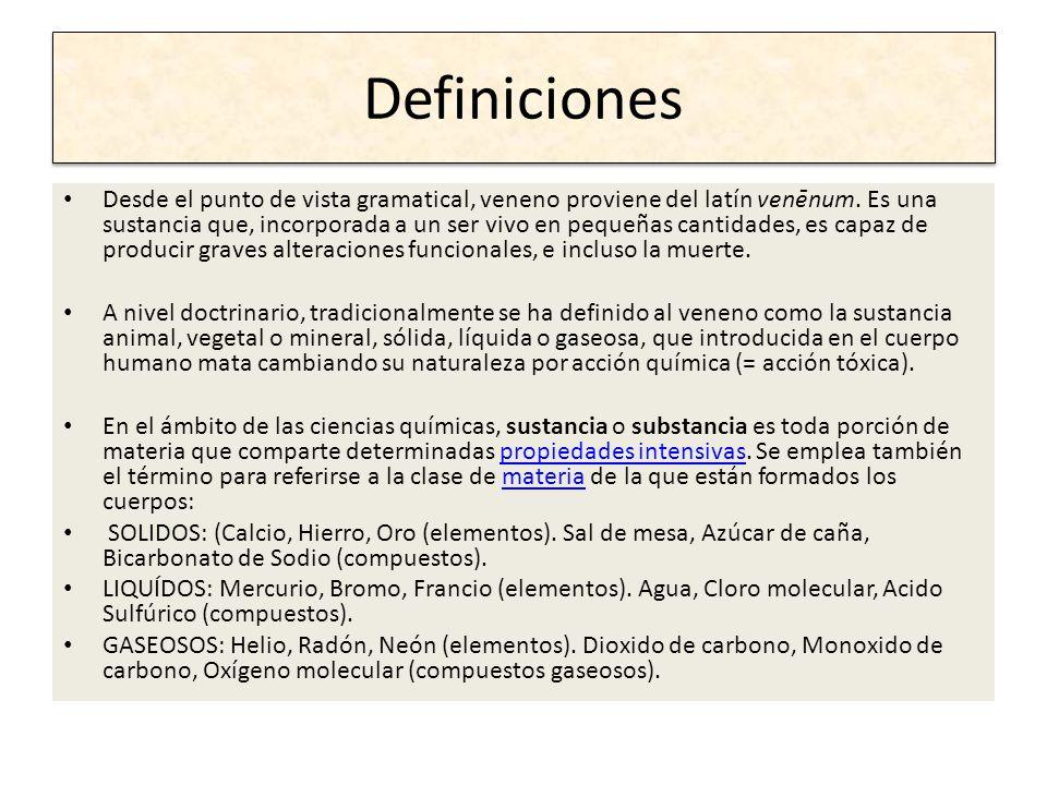 Definiciones Desde el punto de vista gramatical, veneno proviene del latín venēnum. Es una sustancia que, incorporada a un ser vivo en pequeñas cantid