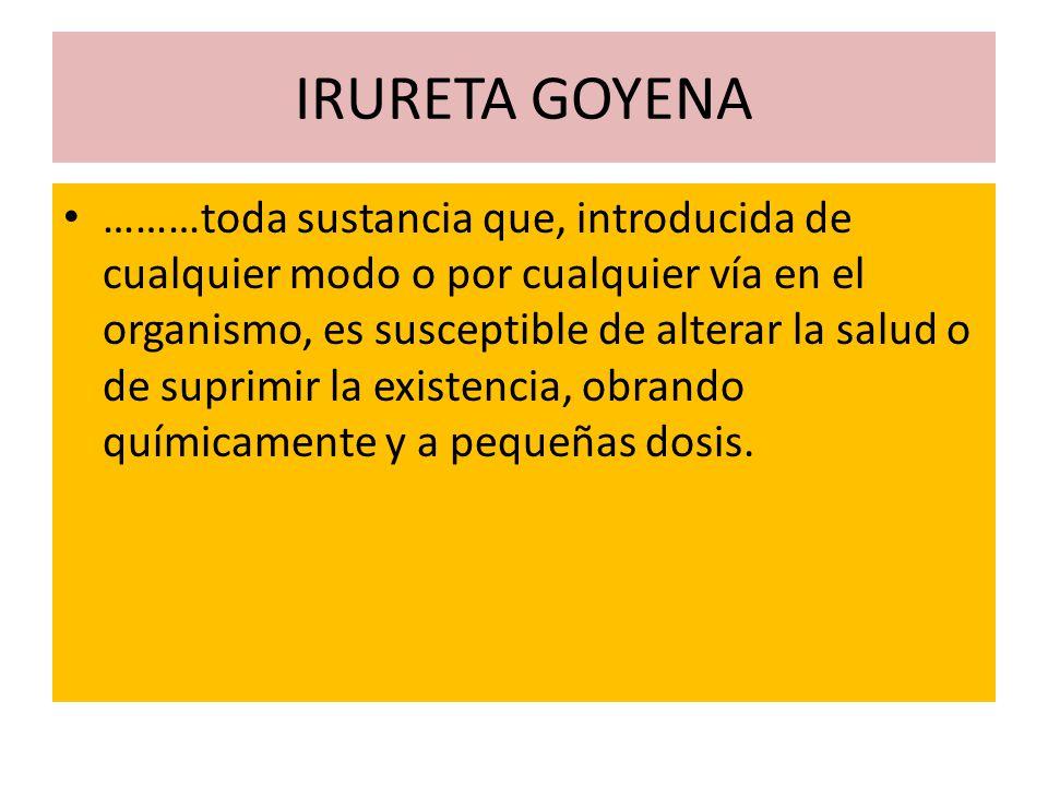 IRURETA GOYENA ………toda sustancia que, introducida de cualquier modo o por cualquier vía en el organismo, es susceptible de alterar la salud o de supri