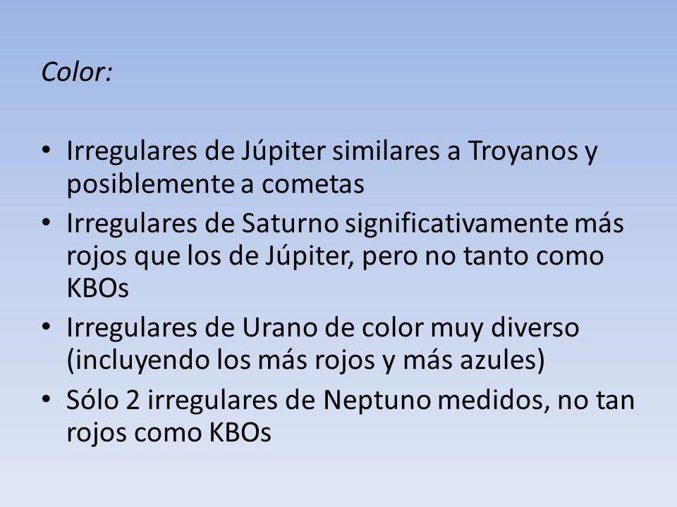 Color: Irregulares de Júpiter similares a Troyanos y posiblemente a cometas Irregulares de Saturno significativamente más rojos que los de Júpiter, pe
