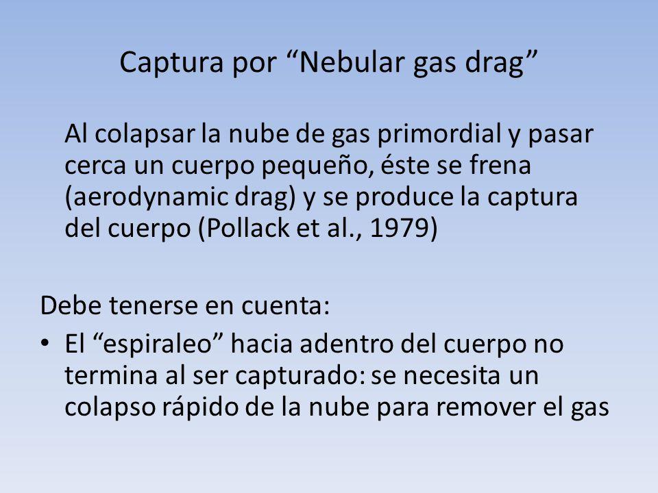Captura por Nebular gas drag Al colapsar la nube de gas primordial y pasar cerca un cuerpo pequeño, éste se frena (aerodynamic drag) y se produce la c