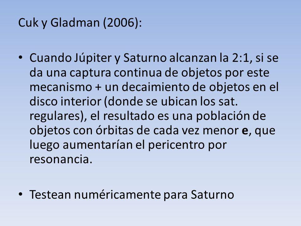 Cuk y Gladman (2006): Cuando Júpiter y Saturno alcanzan la 2:1, si se da una captura continua de objetos por este mecanismo + un decaimiento de objeto