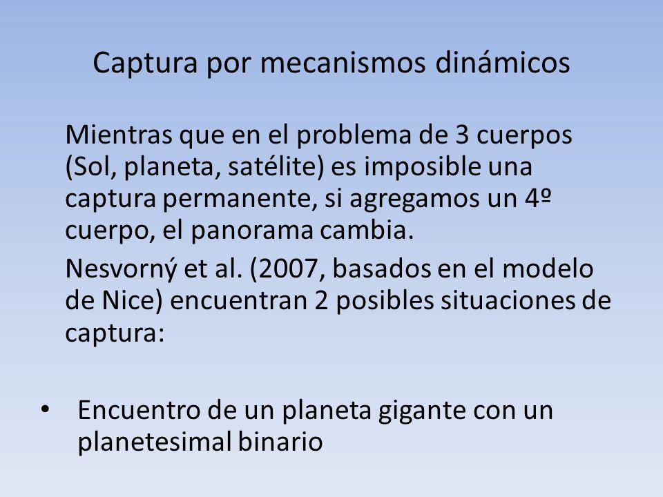 Captura por mecanismos dinámicos Mientras que en el problema de 3 cuerpos (Sol, planeta, satélite) es imposible una captura permanente, si agregamos u